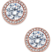 Danori Rose Gold-Tone Crystal and Pavé Round Stud Earrings, Created for Macy's | macys.com