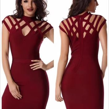 Latst Red Cap Sleeve Cut Out Sexy Bandage Dress