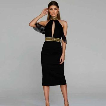New Style Halter Golden Beaded Midi Sexy Cut Out Tassel Bandage Dress
