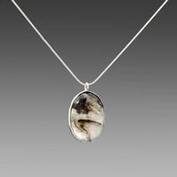 Black Moss Agate in Sterling Silver