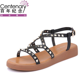 Centenary Top Quality Womens Flat Sandals Black White Stylish Fashion Cross Strap Rivet Lady Girls Summer Sandals Shoes 1419