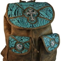 "Texcyngoods Western Backpack Style Purse 13""H Handbag Bling Brown and Turquoise"