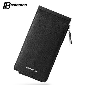 BOSTANTEN Business Men Multiple Credit Cards Holder Split Leather Wallets Ultra-thin Zipper Hasp Coin Clutch Purse