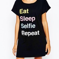 Adolescent Clothing Eat Sleep Selfie Repeat Nightshirt