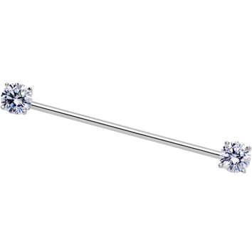 14 Gauge Clear CZ Gem End to End Industrial Barbell 38mm