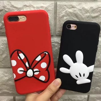 Cute 3D Cartoon Bow palms Minnie Mickey Mouse Soft Silicone Case For Apple iPhone 6 6s 7 7 Plus 8 8plus black red Back Cover
