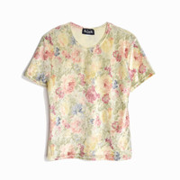Vintage 90s Velveteen Floral Tee / Baby T-Shirt in Florals - juniors large