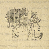 Printable Lady at the Zoo with Dog and Rhinoceros Rhino Image Download Digital Graphic Antique Clip Art HQ 300dpi No.1794