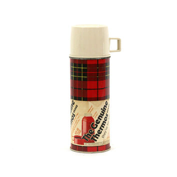 "Vintage Red Plaid Thermos 10""T with Original Paper Label 