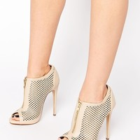 Call It Spring Juillerat Nude Perforated Heeled Shoe Boots