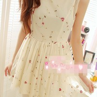 Girlish Trendy Two Layers Embroidered Blossom Flower Tank Dress 3 Colors