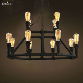 American Retro Pulley Wrought Iron Loft Vintage Pipe Pendant Light