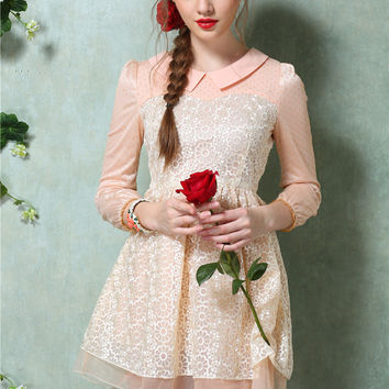 Pointed Flat Collar Floral Embroidery Half Sleeve High Waist Pleated A-Line Mini Dress with Mesh Accent