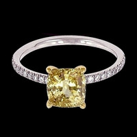 3 carat yellow canary & white diamonds ring anniversary two tone gold ring
