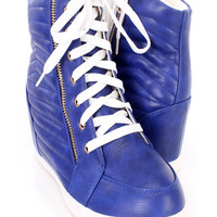Blue Lace Up Side Zipper Sneaker Wedges Faux Leather