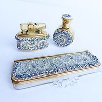 Vanity Set Lighter Perfume Bottle Comb With Holder Rhinestones Vintage Pearls