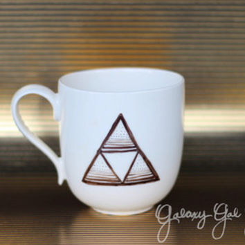 Triforce, Legend of Zelda patterned design, video game mug, white and black