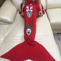 Hot Deal Birthday Gifts Red Knit Mermaid Sofa Blanket [10650316743]
