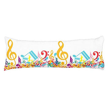 Colorful Jumbled Musical Notes Silky Shiny Satin Body Pillow Cover, 20-Inch x 54-Inch