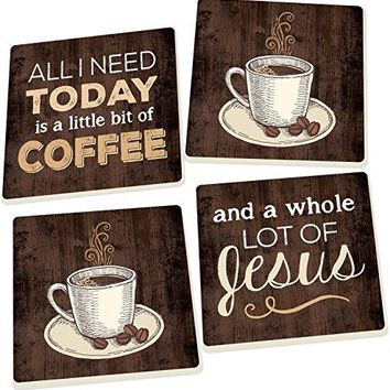Coffee and a Whole Lot of Jesus Dark Wood Look 4 Piece Square Ceramic Coaster Set