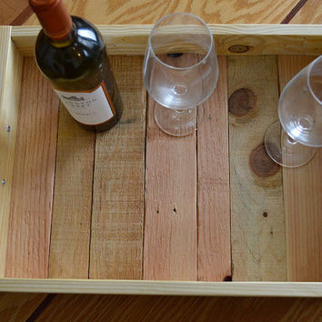 Reclaimed Wood Tray - Wood Serving Tray - Pallet Wood Tray - Rustic Wood Tray - Kitchen Tray - Tray With Handles - Coffee Table Tray