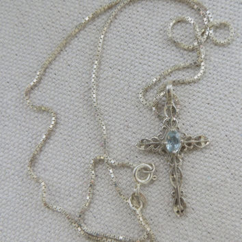 "Vintage Sterling Filigree Cross with Aquamarine on 20"" Sterling Chain"