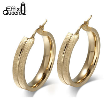 Effie Queen New Come Frosting Surface Titanium Steel Large Hoop Earrings Gold Plated Women Party Earring DTE71
