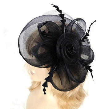 large black hair clip flower feather fascinator mesh fancy hat for wedding party ball