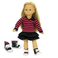 Fits American Girl Dolls 3 Pc. Set of 18 Inch Doll Clothing, Fun Black/Hot Pink Striped Shirt, Black Skirt, & Doll High Tops