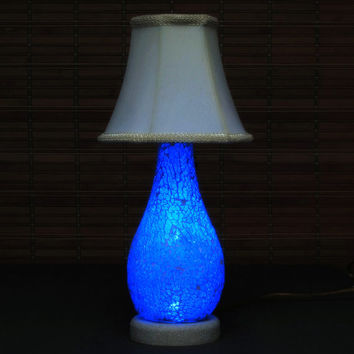 Cobalt Blue Mosaic Teardrop Glass Accent Lamp Night Light with Shade Shower Gift Nursery Blue Boy