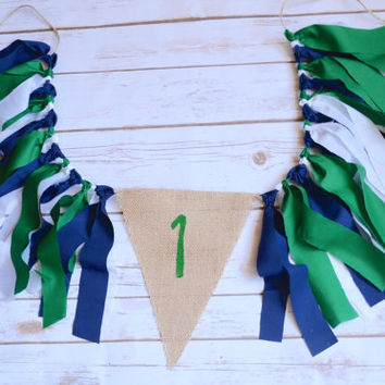 boy high chair banner - preppy whale birthday - turtle birthday party - 1st birthday banner - birthday garland - boy 1st birthday