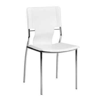 Trafico Dining Chair White Chromed Steel (Set of 4)
