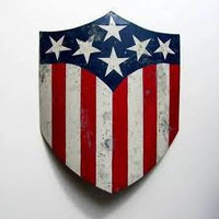 USA American Captain America 24 inch flag shield hand made metal vintagacated