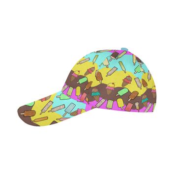 Ice Cream Treats Illustration All Over Print Baseball Cap | ID: D2646747
