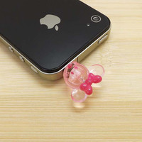 Lovely Delicate 3D Pink Minnie Dust Plug - 3.5mm Smart Phone Dust Stopper Earphone Cap Dustproof Plug Charms for iPhone 4 4S 5 HTC Samsung
