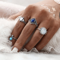 4pcs Mix SIZES Vintage Sliver Color Turkish Multicolor Punk Stone Midi Ring Sets for Women Finger Rings conjuntos de anillo 0527