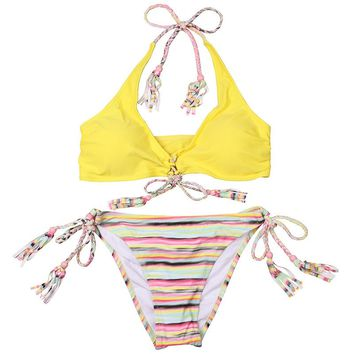 Yellow & Stripes Handmade Crochet Bikini With Laces
