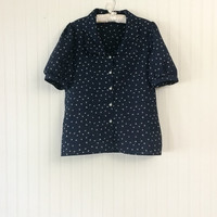 1970s vintage navy blue dainty floral print puff sleeve silky boho cute blouse top // size L 38 bust