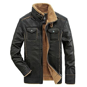 Stand Collar Men Leather Motorcycle Jacket Vintage Thick Slim