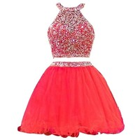 TDHQ Women's Halter Rhinestoned Beading Ruffles Tulle Two Piece Homecoming Dress Red US12