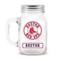 Boston Red Sox MLB Mason Jar Glass With Lid