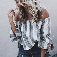 Fashion Multicolor Stripe Off Shoulder Middle Sleeve Women Casual Shirt Tops