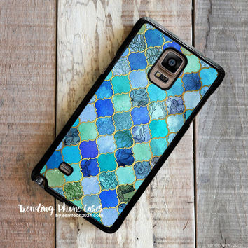 Cobalt Blue Aqua Gold Decorative Moroccan Tile Pattern Samsung Galaxy Note 4 Case Cover for Note 3 Note 2 Case