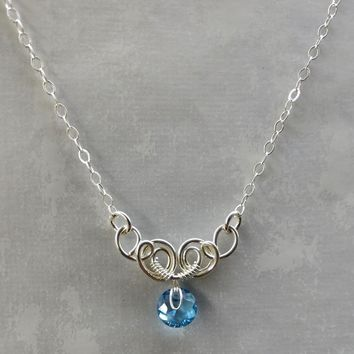 Silver Wire Sculpted Round Aquamarine Crystal Pendant Necklace