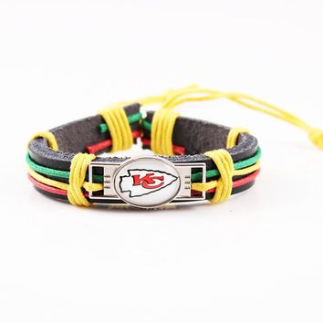 Hot Kansas City Chiefs Team Logo Charms Bracelet Rainbow Rope Leather Bracelet Reggae Bracelet Men Wrap Bracelet Jewelry 6pcs