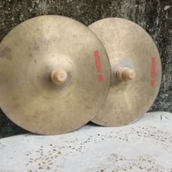 Vintage TKO 14 Inch Crash Cymbal Pair with Wooden Knob Handles