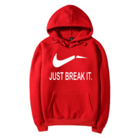 JUST BREAK IT Fashion Casual Long Sleeve Hooded Print Pullover Sweater