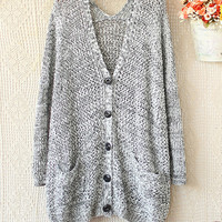 SPELL TO LOOSE V-NECK LONG SLEEVE KNIT SWEATER CARDIGAN