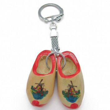 Dutch Gift Idea Wooden Shoes Keychain Natural