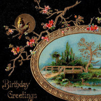 Beautiful Antique Chinoiserie Birthday Greetings Postcard Early 1900s